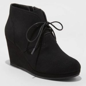 Faux Suede Wedge Booties 8.5